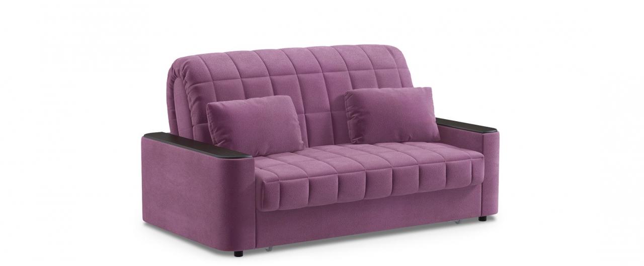 Диван прямой аккордеон Даллас 018Гостевой вариант и полноценное спальное место. Размеры 170х104х90 см. Купить фиолетовый диван аккордеон с черным декором в интернет-магазине MOON TRADE.<br>