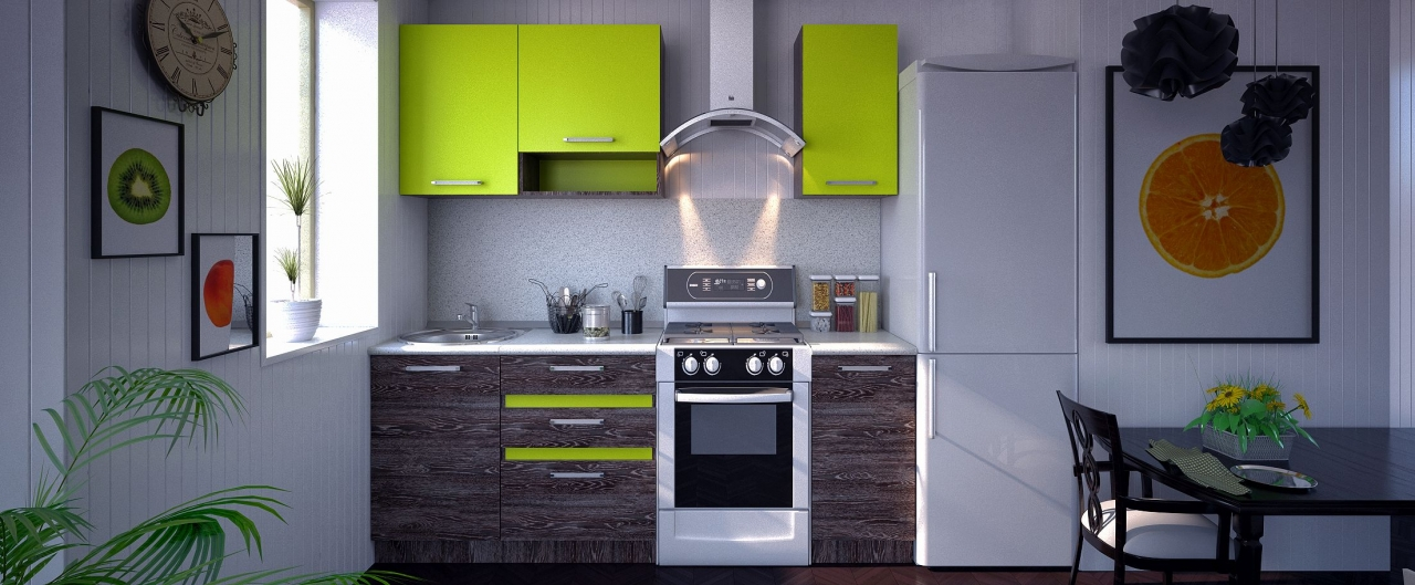 Купить Кухня Марсела лайм 1,5 м в интернет магазине корпусной и мягкой мебели для дома и дачи