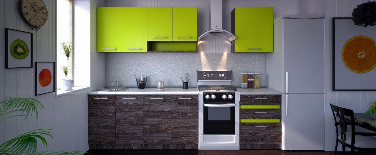 Купить Кухня Марсела лайм 2,2 м в интернет магазине корпусной и мягкой мебели для дома и дачи