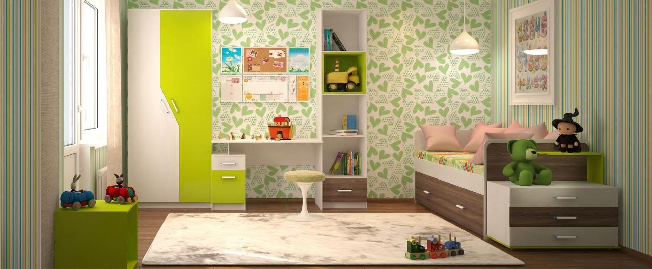 Детская цвета лайм Скейт-5Купить набор уютной и комфортной детской мебели в интернет магазине MOON-TRADE.RU. Спальное место 80х190 см. Быстрая доставка, вынос упаковки, гарантия! Выгодная покупка!<br>