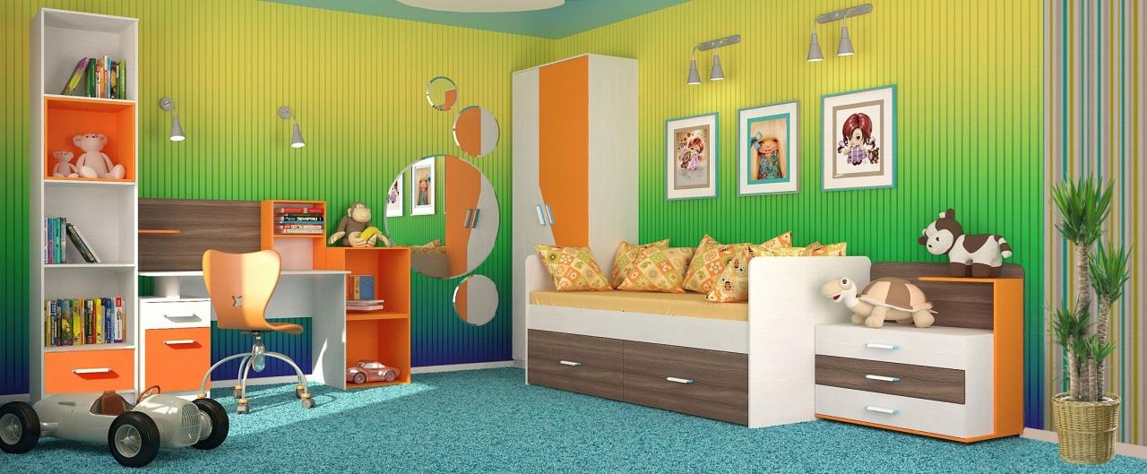 Детская цвета манго Скейт-5Купить набор уютной и комфортной детской мебели в интернет магазине MOON TRADE. Спальное место 80х190 см. Быстрая доставка, вынос упаковки, гарантия! Выгодная покупка!<br>