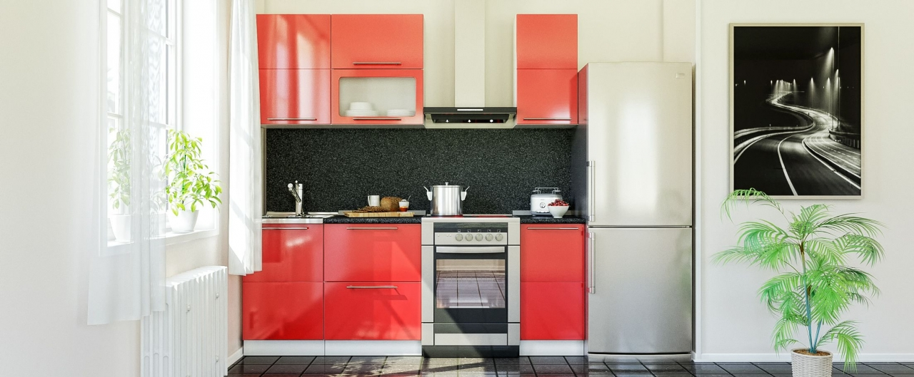 Кухня Красный глянец 1,5 мКупить удобный и практичный набор кухонного гарнитура в интернет магазине MOON TRADE. Быстрая доставка, вынос упаковки, гарантия! Выгодная покупка!<br>
