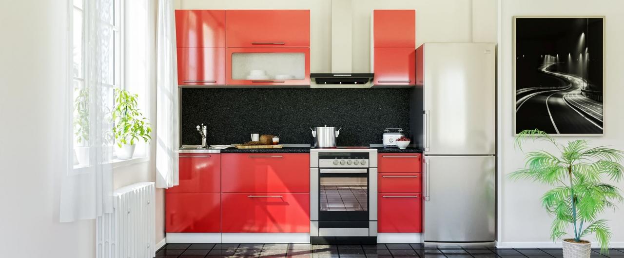 Купить Кухня Красный глянец 1,7 м в интернет магазине корпусной и мягкой мебели для дома и дачи