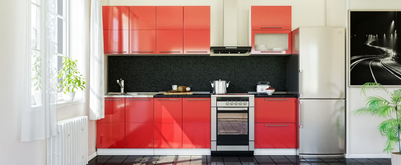 Купить Кухня Красный глянец 2,2 м в интернет магазине корпусной и мягкой мебели для дома и дачи