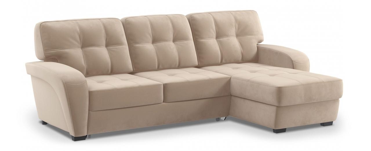 Диван угловой Честер 106Гостевой вариант и полноценное спальное место. Размеры 254х161х95 см. Купить бежевый диван дельфин с универсальным углом в интернет-магазине MOON TRADE.<br>
