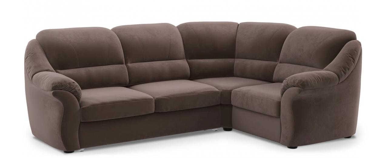 Диван угловой высоковыкатной Бостон 017Гостевой вариант и полноценное спальное место. Размеры 273х190х99 см. Купить коричневый диван высоковыкатной с правым углом в интернет-магазине MOON-TRADE.RU.<br>