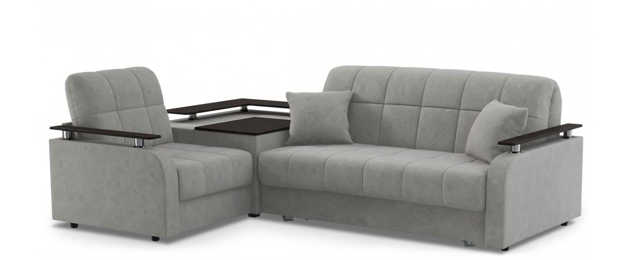 Диван угловой аккордеон Карина 044Гостевой вариант и полноценное спальное место. Размеры 250х179х88 см. Купить серый диван аккордеон с левым углом в интернет-магазине MOON TRADE.<br>