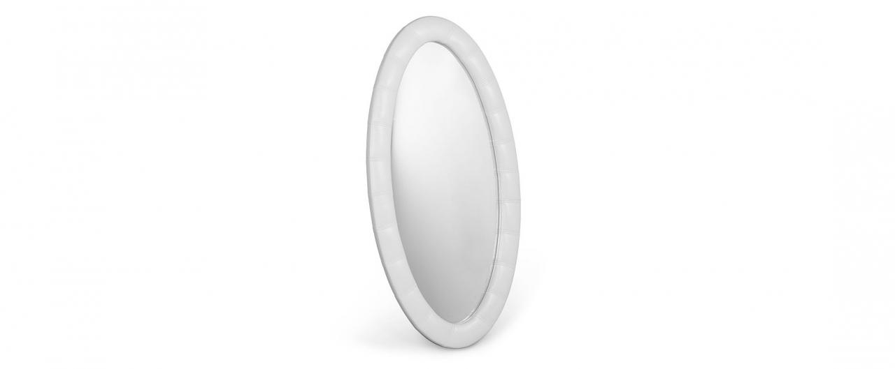 Зеркало Люнетта марципанЗеркало навесное в спальню. Обивка из экокожи. Артикул: К000451<br>