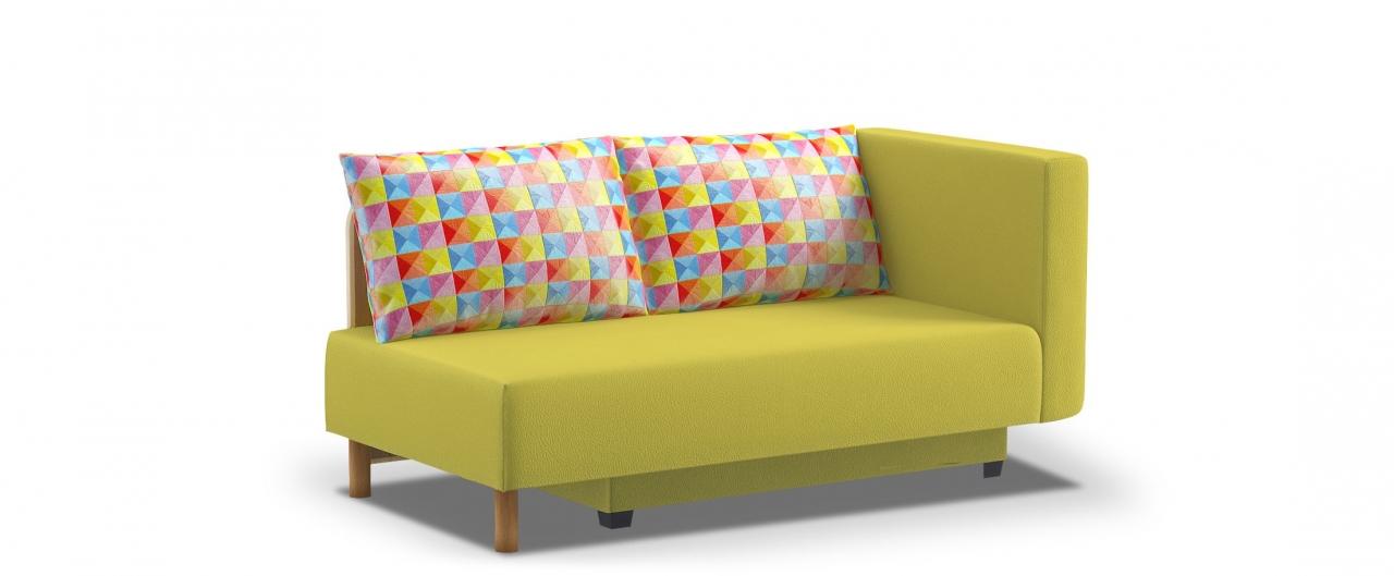 Диван прямой еврокнижка Лион 060Гостевой вариант и полноценное спальное место. Размеры 155х84х79 см. Купить желтый диван еврокнижка с правым подлокотником в интернет-магазине MOON TRADE.<br>