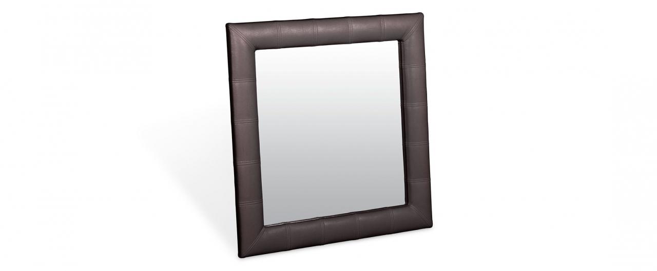Зеркало Кааба квадратное кофеЗеркало навесное в спальню. Обивка из экокожи. Артикул: К000479<br>