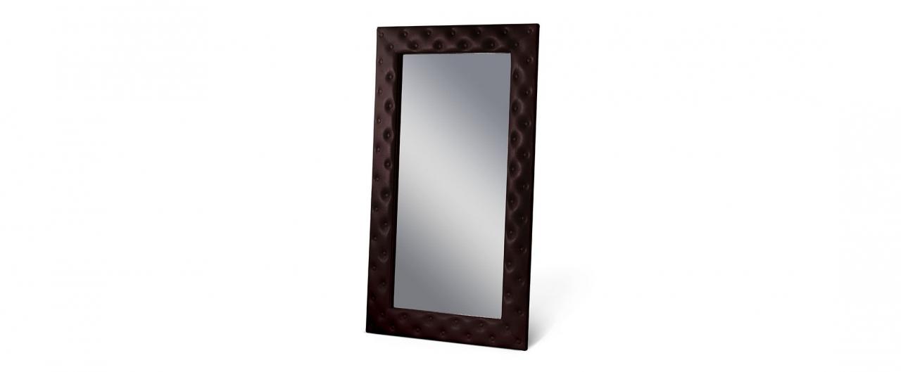 Зеркало Кааба большое с пуговицами кофеЗеркало навесное в спальню. Обивка из экокожи с декоративными пуговицами. Артикул: К000484<br>