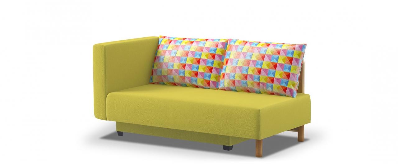 Диван прямой еврокнижка Лион 060Гостевой вариант и полноценное спальное место. Размеры 155х84х79 см. Купить желтый диван еврокнижка с левым подлокотником в интернет-магазине MOON TRADE.<br>