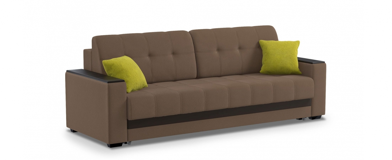 Диван прямой еврокнижка Атланта 066Гостевой вариант и полноценное спальное место. Размеры 241х93х86 см. Купить коричневый диван еврокнижка в интернет-магазине MOON TRADE.<br>