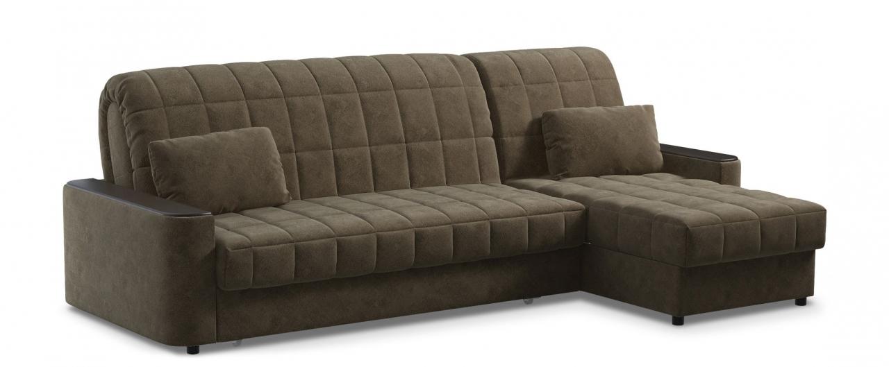 Диван угловой аккордеон Даллас 018Гостевой вариант и полноценное спальное место. Размеры 264х164х90 см. Купить коричневый диван аккордеон с черным декором в интернет-магазине MOON TRADE.<br>