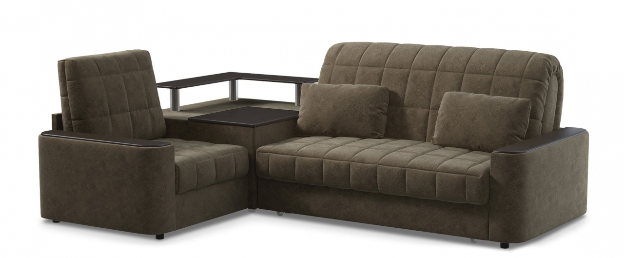 Диван угловой аккордеон Даллас 018Гостевой вариант и полноценное спальное место. Размеры 246х183х90 см. Купить коричневый диван аккордеон с черным декором в интернет-магазине MOON TRADE.<br>