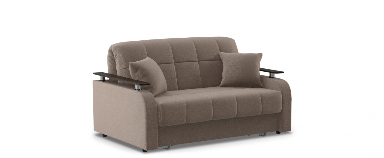 Диван прямой аккордеон Карина 044Гостевой вариант и полноценное спальное место. Размеры 150х104х88 см. Купить коричневый диван аккордеон с декором венге в интернет-магазине MOON TRADE.<br>