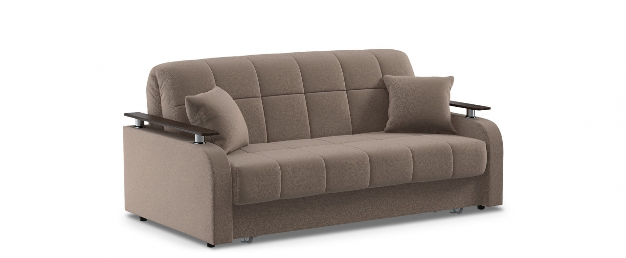 Диван прямой аккордеон Карина 044Гостевой вариант и полноценное спальное место. Размеры 186х104х88 см. Купить коричневый диван аккордеон с декором венге в интернет-магазине MOON TRADE.<br>