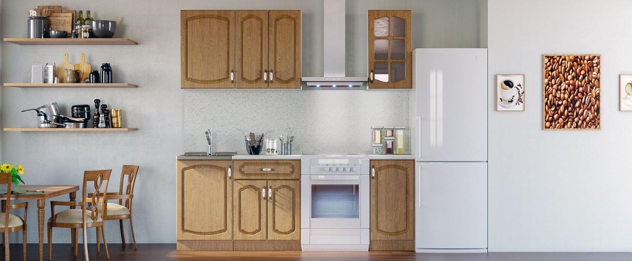 Кухня Дуб натуральный 1,5 мКупить удобный и практичный набор кухонного гарнитура в интернет магазине MOON TRADE. Быстрая доставка, вынос упаковки, гарантия! Выгодная покупка!<br>