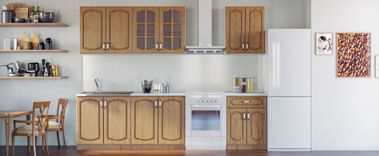 Купить Кухня Дуб натуральный 2,2 м в интернет магазине корпусной и мягкой мебели для дома и дачи