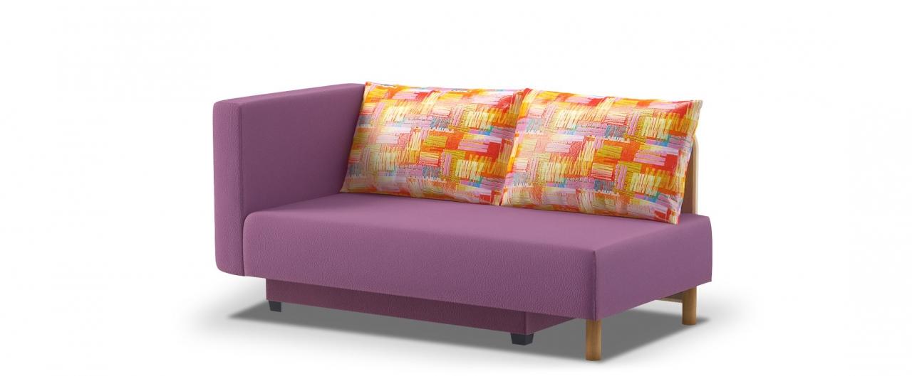 Диван прямой еврокнижка Лион 060Гостевой вариант и полноценное спальное место. Размеры 155х84х79 см. Купить фиолетовый диван еврокнижка с левым подлокотником в интернет-магазине MOON TRADE.<br>