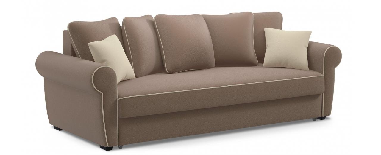 Диван прямой еврокнижка Рейн 123Гостевой вариант и полноценное спальное место. Размеры 243х108х94 см. Купить коричневый диван еврокнижка в интернет-магазине MOON TRADE.<br>