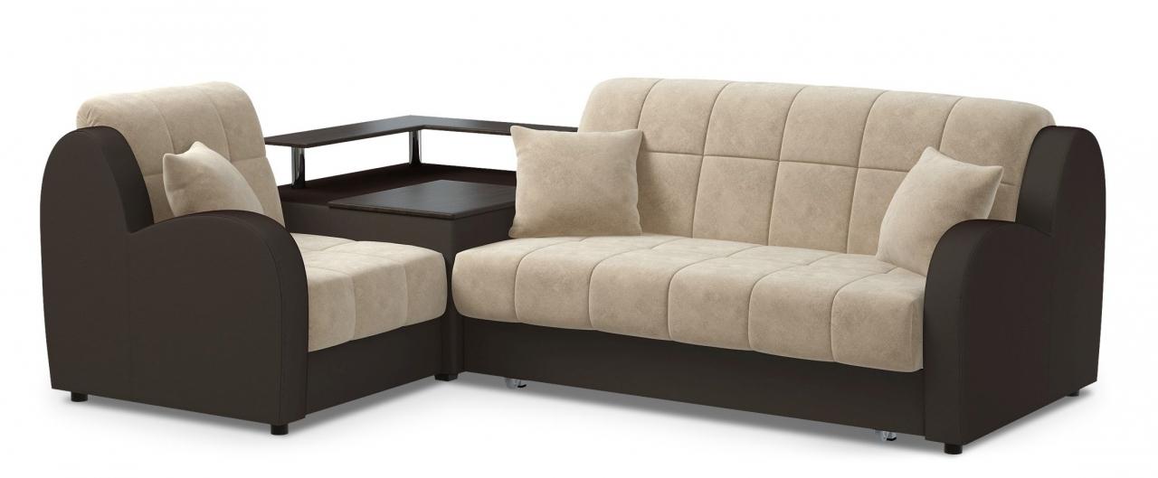 Диван угловой аккордеон Барон 022Гостевой вариант и полноценное спальное место. Размеры 250х179х88 см. Купить тёмно-бежевый диван аккордеон с левым углом в интернет-магазине MOON-TRADE.RU.<br>