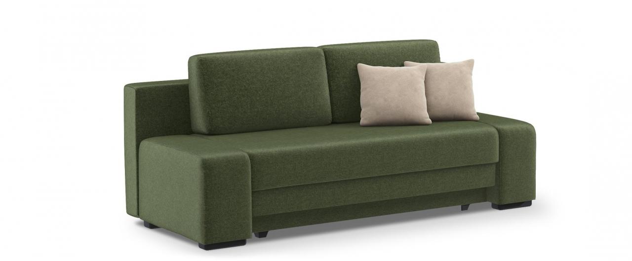 Диван прямой еврокнижка Токио 009Гостевой вариант и полноценное спальное место. Размеры 205х93х89 см. Купить зеленый диван еврокнижка в интернет-магазине MOON-TRADE.RU.<br>