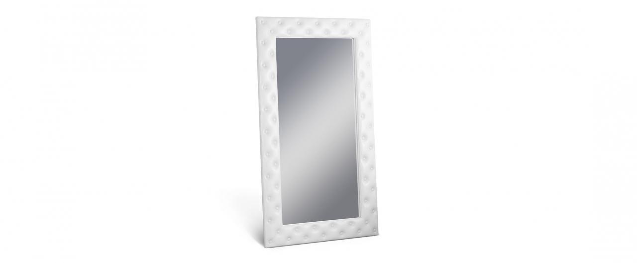 Зеркало Кааба большое с пуговицами марципанЗеркало навесное в спальню. Обивка из экокожи с декоративными пуговицами. Артикул: К000485<br>