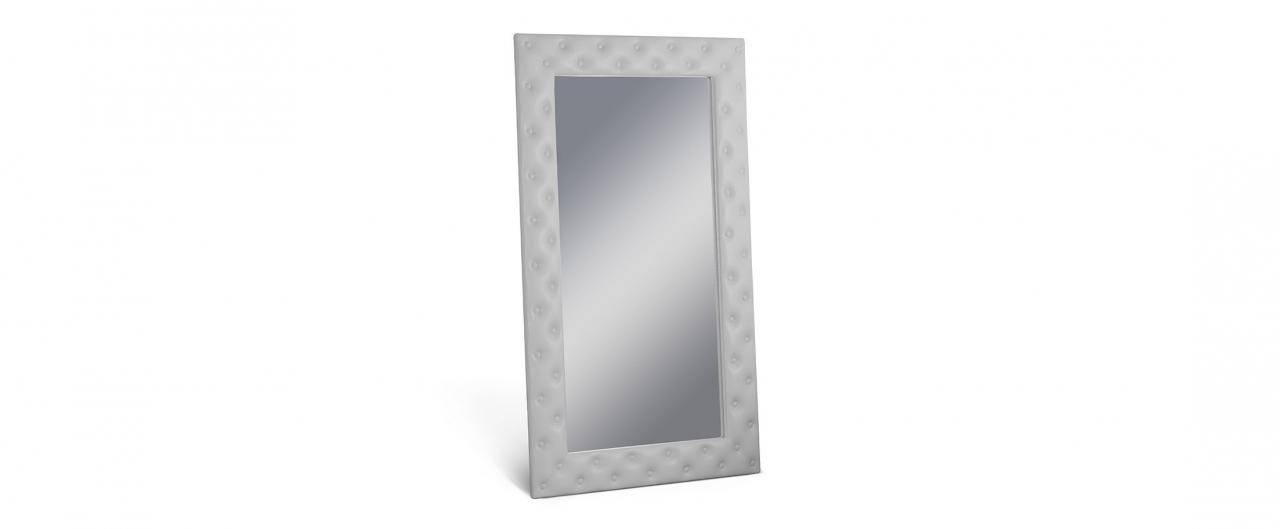Зеркало Кааба большое с пуговицами молокоЗеркало навесное в спальню. Обивка из экокожи с декоративными пуговицами. Артикул: К000486<br>