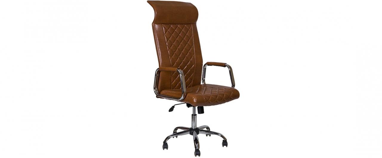 Купить Кресло офисное AV 136 из экокожи цвет коньяк Модель 999 в интернет магазине корпусной и мягкой мебели для дома и дачи