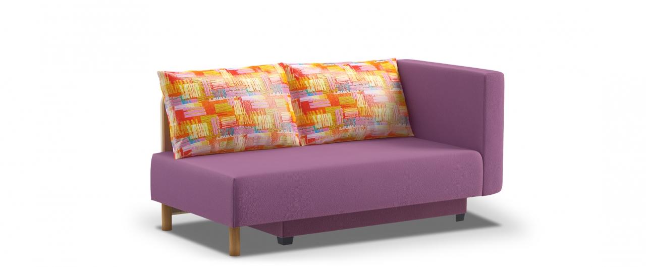 Диван прямой еврокнижка Лион 060Гостевой вариант и полноценное спальное место. Размеры 155х84х79 см. Купить фиолетовый диван еврокнижка с правым подлокотником в интернет-магазине MOON TRADE.<br>