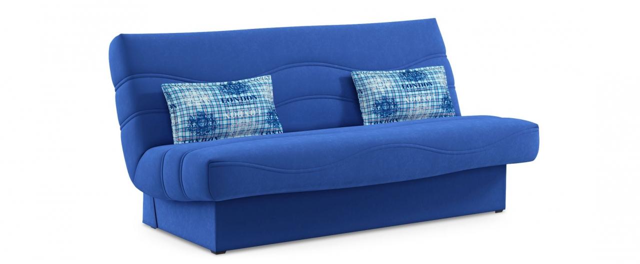 Диван прямой клик-кляк Баккара 037Гостевой вариант и полноценное спальное место. Размеры 200х108х105 см. Купить синий диван клик-кляк в интернет-магазине MOON-TRADE.RU.<br>