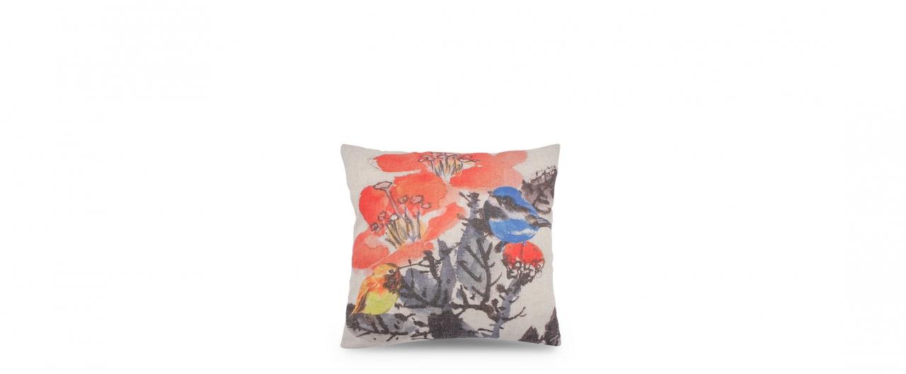 Подушка декоративная Птицы 4010Подушка декоративная Птицы 4010. Подушка изготовлена из натурального льна, обладающего уникальными характеристиками: экологичность, износостойкость, воздухопроницаемость, высокая теплопроводность, минимальная электризуемость.<br>