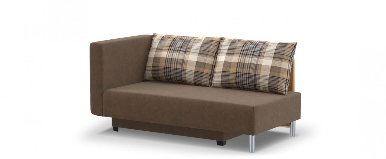 Диван прямой еврокнижка Лион 060Гостевой вариант и полноценное спальное место. Размеры 155х84х79 см. Купить коричневый диван еврокнижка с левым подлокотником в интернет-магазине MOON-TRADE.RU.<br>
