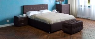 Кровать двуспальная Космопорт Модель 382Шикарная двуспальная кровать с универсальным дизайном. Подчеркнуть минималистичность или же наоборот романтическую роскошь интерьера комнаты можно с помощью спального комплекта соответствующей расцветки.<br>