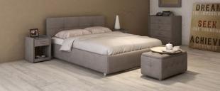 Кровать двуспальная Птичье гнездо Модель 381Лёгкость и аккуратность дизайна позволяют вписать эту кровать в интерьер даже очень небольшой комнаты, визуально не занимая лишнего пространства. Стильный кант подчеркивает простоту и чёткость линий.<br>